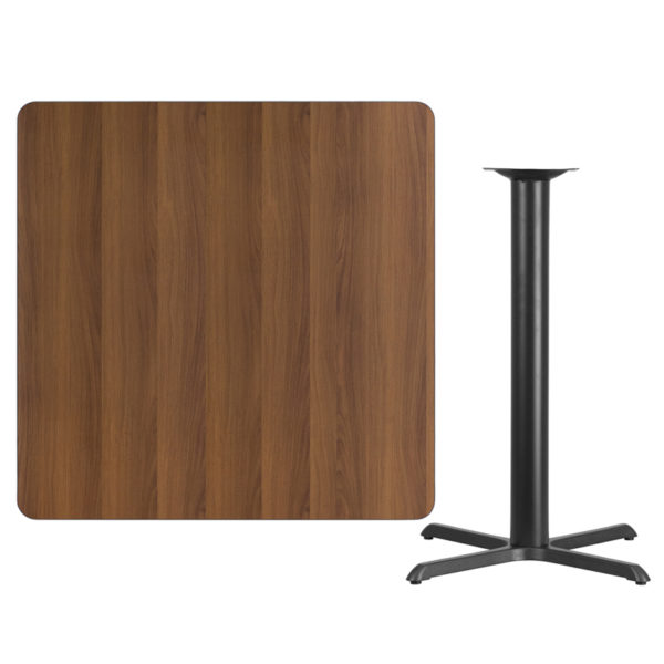 Lowest Price 42'' Square Walnut Laminate Table Top with 33'' x 33'' Bar Height Table Base