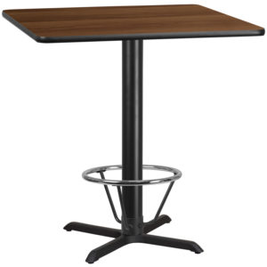 Wholesale 42'' Square Walnut Laminate Table Top with 33'' x 33'' Bar Height Table Base and Foot Ring