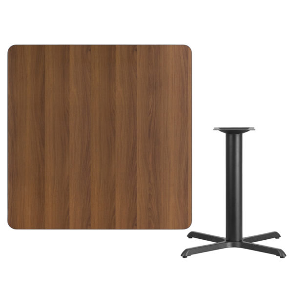 Lowest Price 42'' Square Walnut Laminate Table Top with 33'' x 33'' Table Height Base