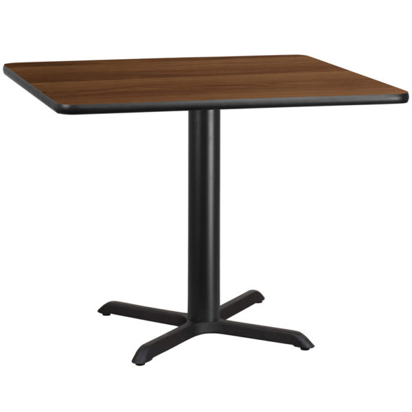 Wholesale 42'' Square Walnut Laminate Table Top with 33'' x 33'' Table Height Base
