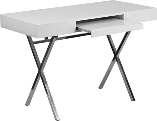 Wholesale 44.25''W x 21.625''D White Computer Desk with Keyboard Tray and Drawers
