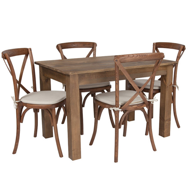 "Wholesale 46"" x 30"" Antique Rustic Farm Table Set with 4 Cross Back Chairs and Cushions"