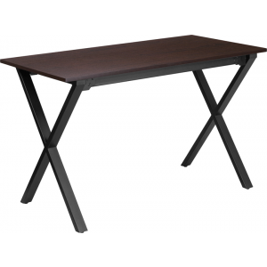Wholesale 47.5''W x 23.75''D Walnut Computer Desk with Black Metal Frame