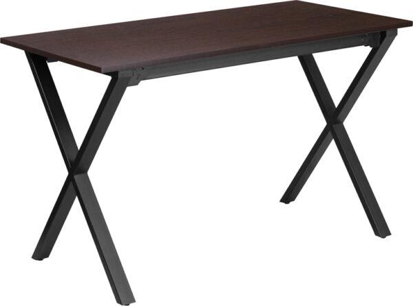 Wholesale 47.5''W x 23.75''D Walnut Computer Desk with Black Metal Frame