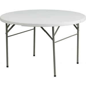 "Wholesale 48"" Round Bi-Fold Granite White Plastic Banquet and Event Folding Table with Carrying Handle"