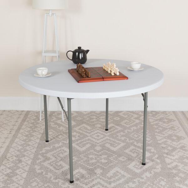 Lowest Price 48'' Round Granite White Plastic Folding Table