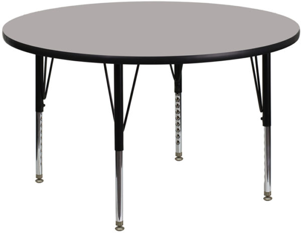 Wholesale 48'' Round Grey HP Laminate Activity Table - Height Adjustable Short Legs