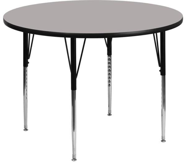 Wholesale 48'' Round Grey HP Laminate Activity Table - Standard Height Adjustable Legs