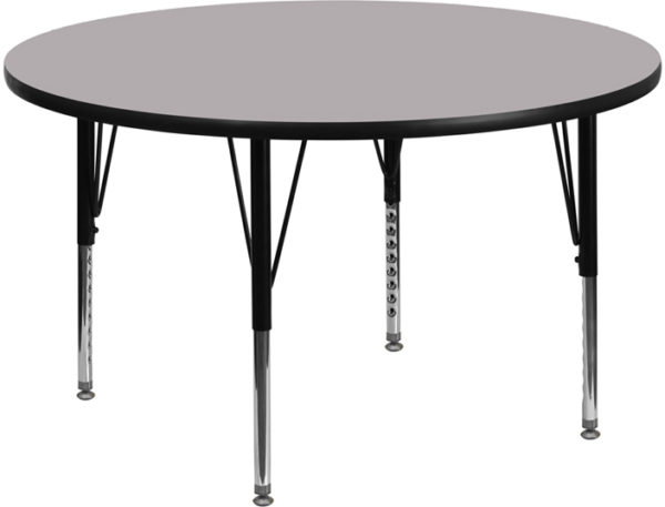 Wholesale 48'' Round Grey Thermal Laminate Activity Table - Height Adjustable Short Legs