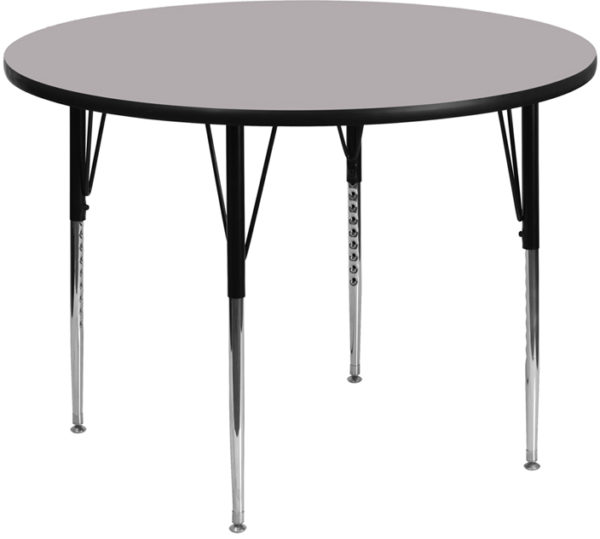 Wholesale 48'' Round Grey Thermal Laminate Activity Table - Standard Height Adjustable Legs