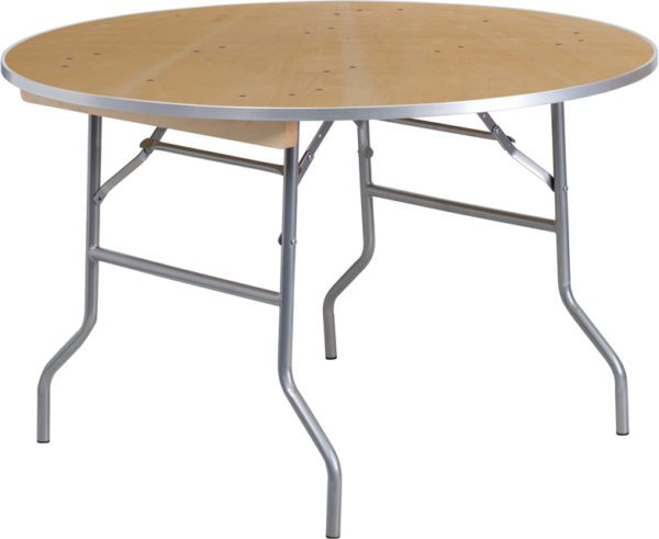 Wholesale 48'' Round HEAVY DUTY Birchwood Folding Banquet Table with METAL Edges