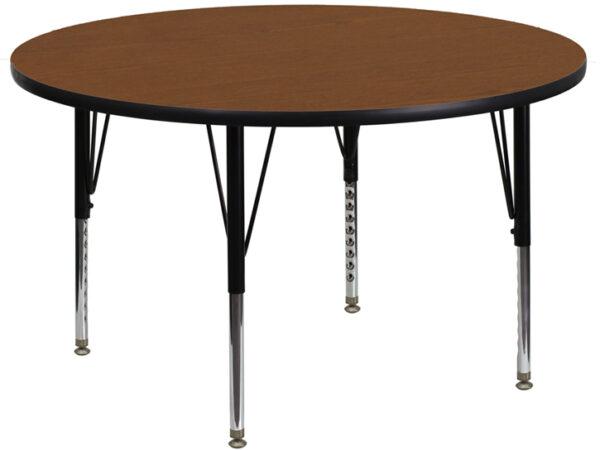 Wholesale 48'' Round Oak HP Laminate Activity Table - Height Adjustable Short Legs