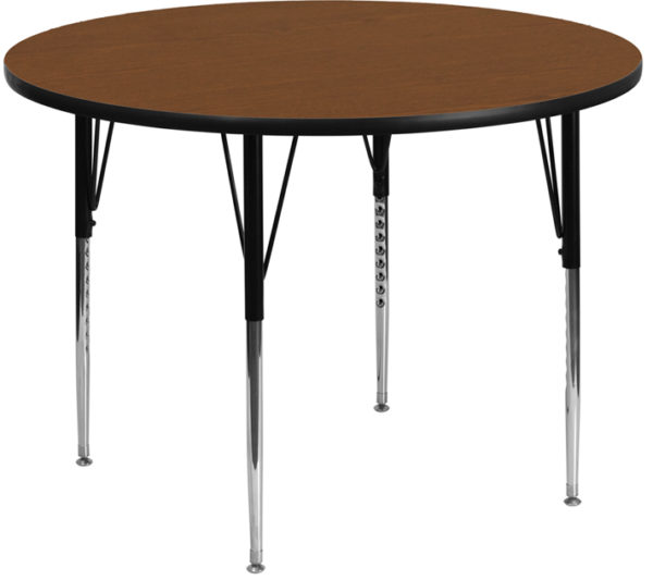 Wholesale 48'' Round Oak HP Laminate Activity Table - Standard Height Adjustable Legs