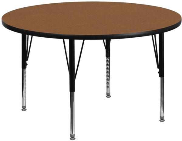 Wholesale 48'' Round Oak Thermal Laminate Activity Table - Height Adjustable Short Legs