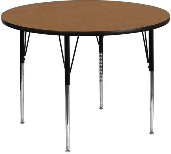 Wholesale 48'' Round Oak Thermal Laminate Activity Table - Standard Height Adjustable Legs
