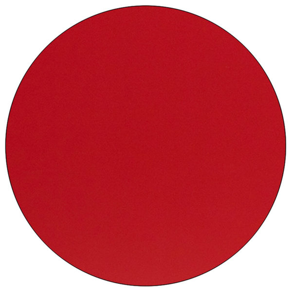 Lowest Price 48'' Round Red HP Laminate Activity Table - Height Adjustable Short Legs