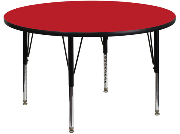 Wholesale 48'' Round Red HP Laminate Activity Table - Height Adjustable Short Legs