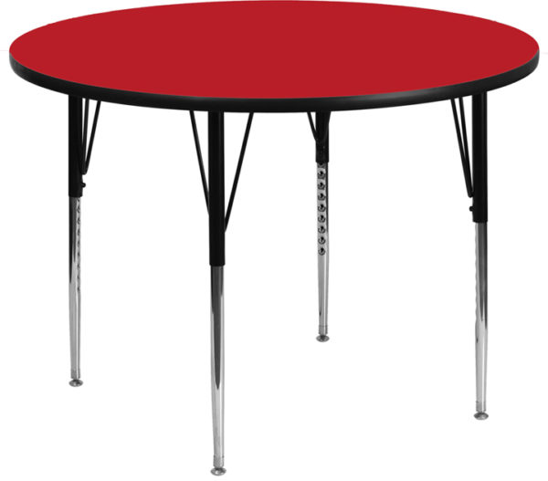 Wholesale 48'' Round Red HP Laminate Activity Table - Standard Height Adjustable Legs