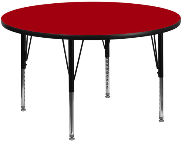 Wholesale 48'' Round Red Thermal Laminate Activity Table - Height Adjustable Short Legs