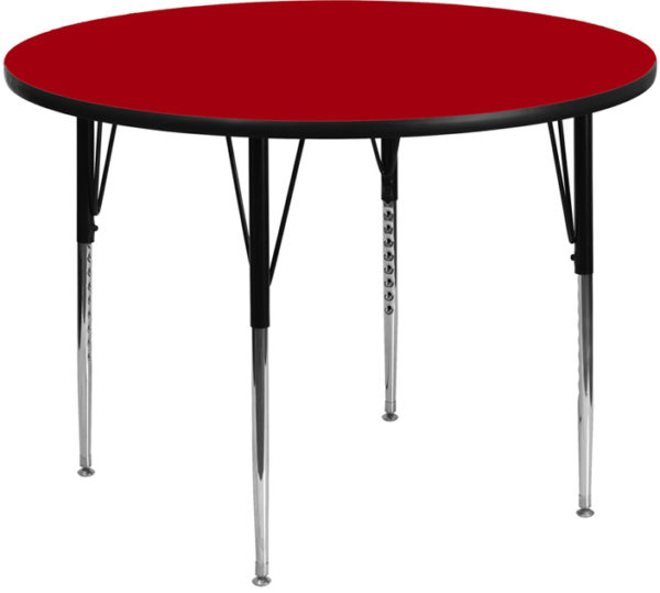 Wholesale 48'' Round Red Thermal Laminate Activity Table - Standard Height Adjustable Legs
