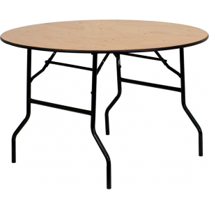 Wholesale 48'' Round Wood Folding Banquet Table with Clear Coated Finished Top