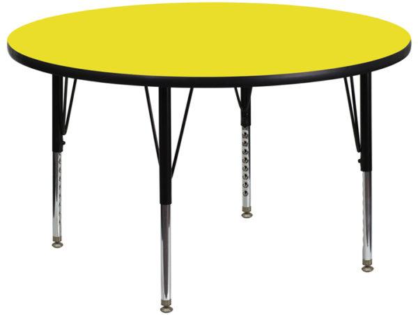 Wholesale 48'' Round Yellow HP Laminate Activity Table - Height Adjustable Short Legs