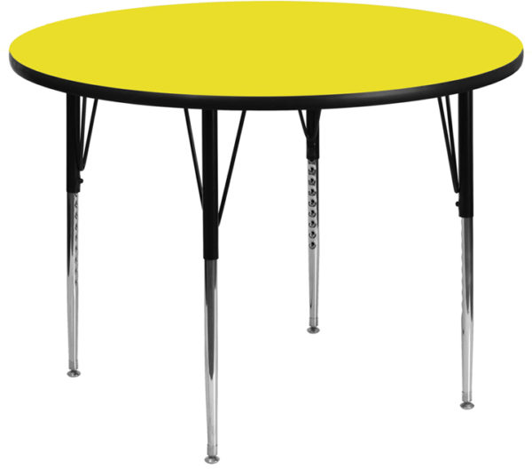 Wholesale 48'' Round Yellow HP Laminate Activity Table - Standard Height Adjustable Legs