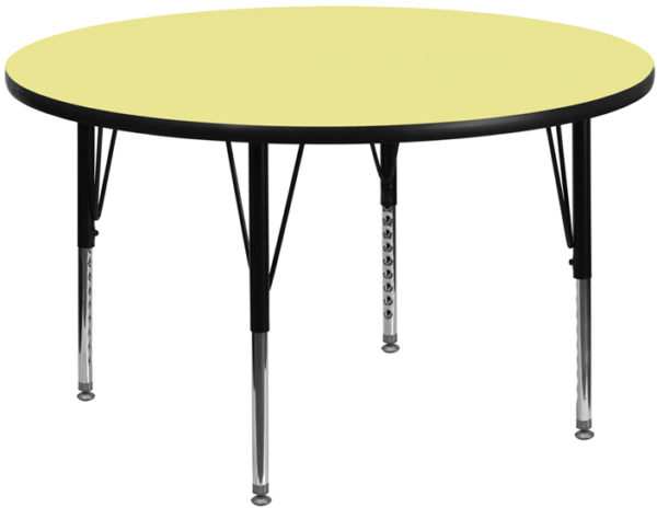 Wholesale 48'' Round Yellow Thermal Laminate Activity Table - Height Adjustable Short Legs