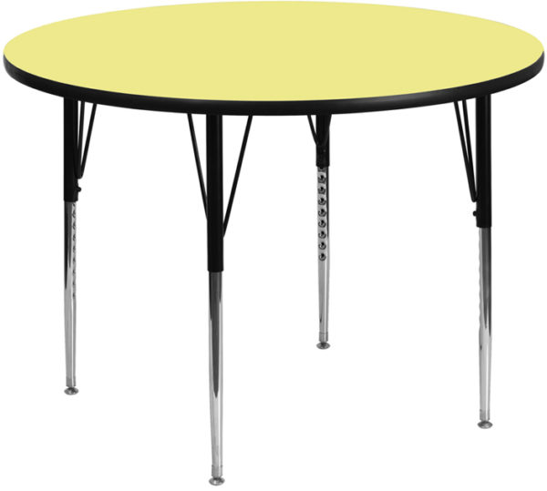 Wholesale 48'' Round Yellow Thermal Laminate Activity Table - Standard Height Adjustable Legs