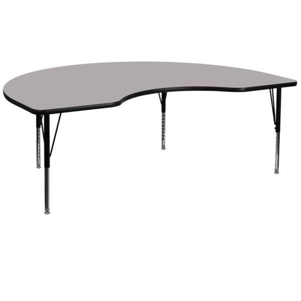 Wholesale 48''W x 72''L Kidney Grey HP Laminate Activity Table - Height Adjustable Short Legs