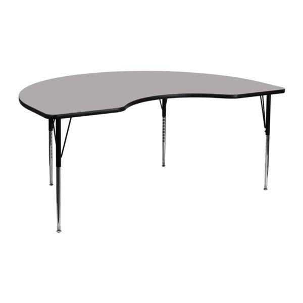 Wholesale 48''W x 72''L Kidney Grey HP Laminate Activity Table - Standard Height Adjustable Legs