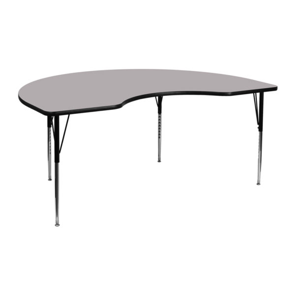 Wholesale 48''W x 72''L Kidney Grey Thermal Laminate Activity Table - Standard Height Adjustable Legs