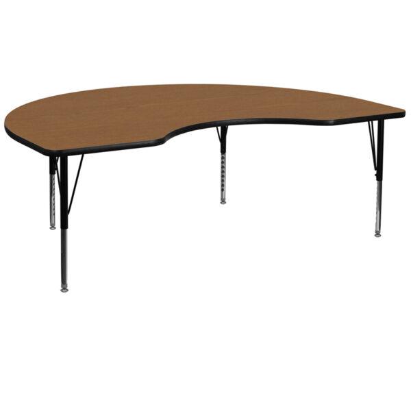 Wholesale 48''W x 72''L Kidney Oak Thermal Laminate Activity Table - Height Adjustable Short Legs