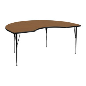 Wholesale 48''W x 72''L Kidney Oak Thermal Laminate Activity Table - Standard Height Adjustable Legs