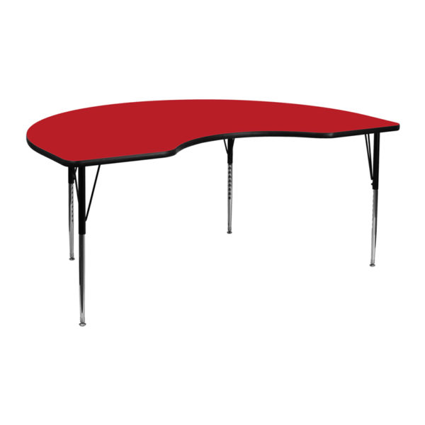 Wholesale 48''W x 72''L Kidney Red HP Laminate Activity Table - Standard Height Adjustable Legs
