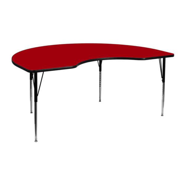 Wholesale 48''W x 72''L Kidney Red Thermal Laminate Activity Table - Standard Height Adjustable Legs