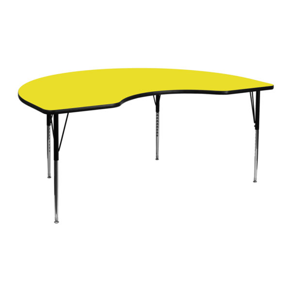 Wholesale 48''W x 72''L Kidney Yellow HP Laminate Activity Table - Standard Height Adjustable Legs