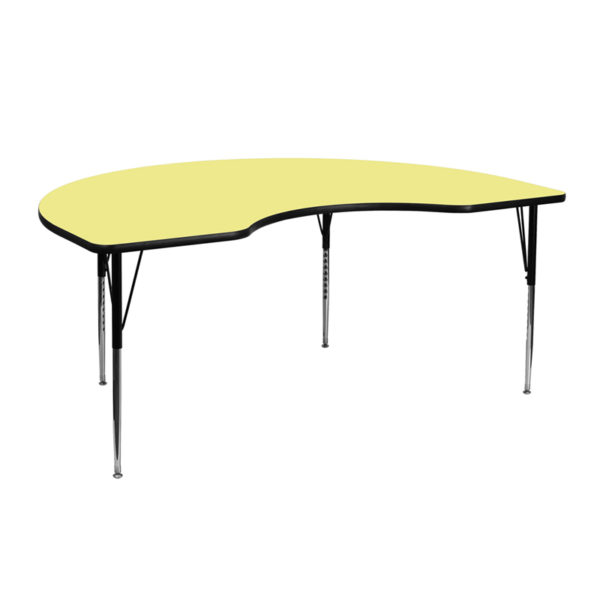 Wholesale 48''W x 72''L Kidney Yellow Thermal Laminate Activity Table - Standard Height Adjustable Legs