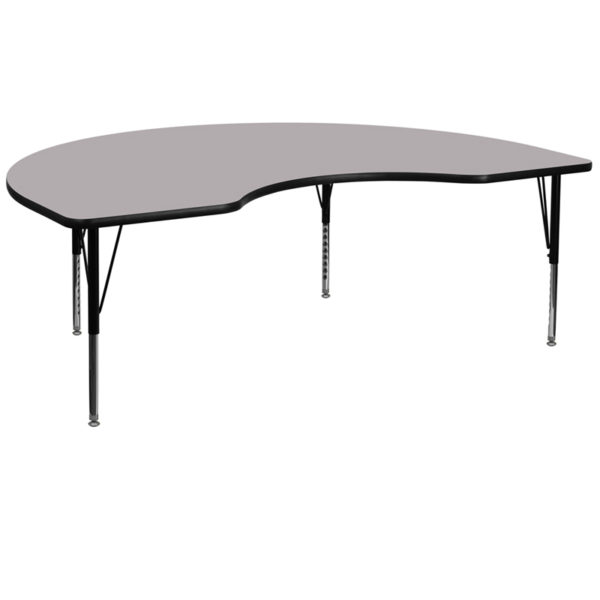 Wholesale 48''W x 96''L Kidney Grey Thermal Laminate Activity Table - Height Adjustable Short Legs