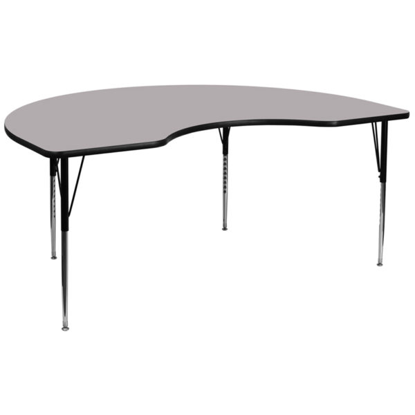 Wholesale 48''W x 96''L Kidney Grey Thermal Laminate Activity Table - Standard Height Adjustable Legs