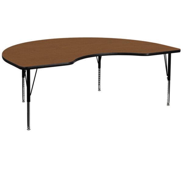 Wholesale 48''W x 96''L Kidney Oak HP Laminate Activity Table - Height Adjustable Short Legs