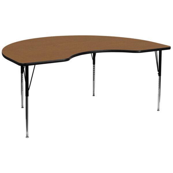 Wholesale 48''W x 96''L Kidney Oak Thermal Laminate Activity Table - Standard Height Adjustable Legs