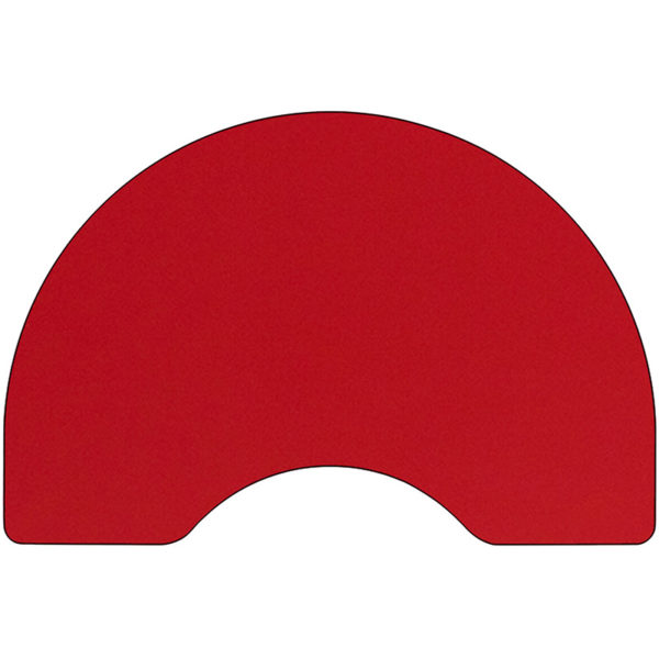 Lowest Price 48''W x 96''L Kidney Red HP Laminate Activity Table - Height Adjustable Short Legs
