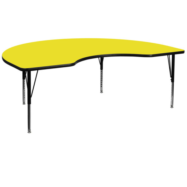 Wholesale 48''W x 96''L Kidney Yellow HP Laminate Activity Table - Height Adjustable Short Legs