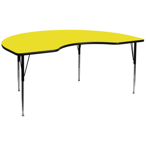 Wholesale 48''W x 96''L Kidney Yellow HP Laminate Activity Table - Standard Height Adjustable Legs