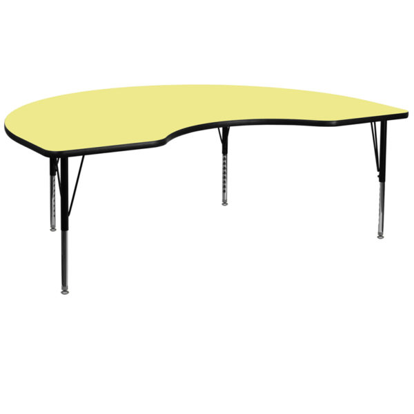 Wholesale 48''W x 96''L Kidney Yellow Thermal Laminate Activity Table - Height Adjustable Short Legs