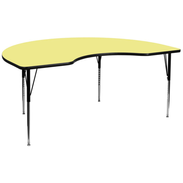 Wholesale 48''W x 96''L Kidney Yellow Thermal Laminate Activity Table - Standard Height Adjustable Legs