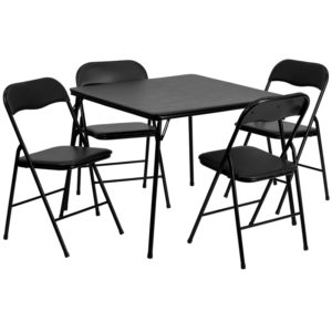 Wholesale 5 Piece Black Folding Card Table and Chair Set