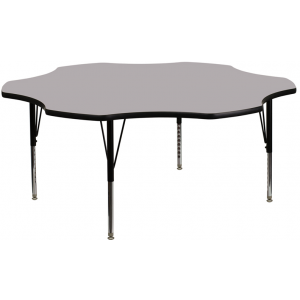 Wholesale 60'' Flower Grey Thermal Laminate Activity Table - Height Adjustable Short Legs