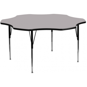Wholesale 60'' Flower Grey Thermal Laminate Activity Table - Standard Height Adjustable Legs